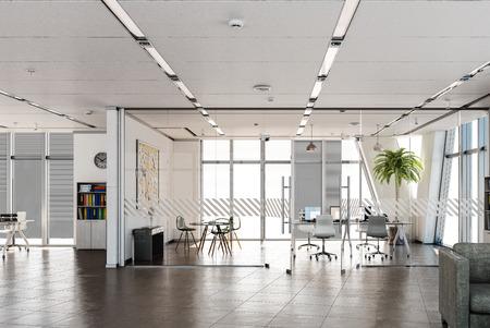 Stilvolles und einfaches Büro mit Möbeln und ohne Menschen. Gemischte Medien