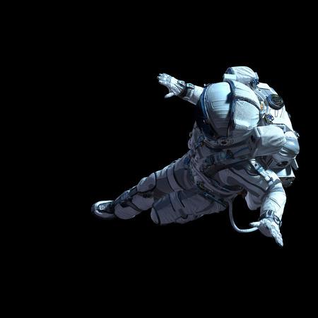 Spaceman in wit pak op zwarte achtergrond. Gemengde media