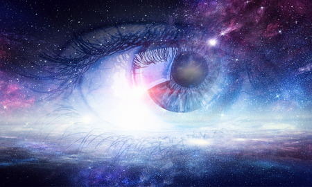 Human eye and space starry fantasy background
