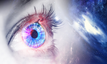Human eye and space starry fantasy background Stock fotó - 101548873