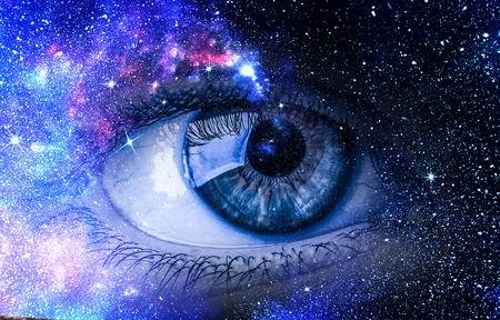 Human eye and space starry fantasy background Stock fotó - 101548983