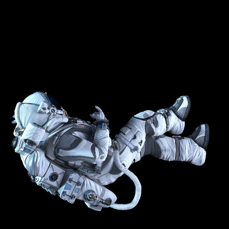 Spaceman in white suit on black background. Mixed media Stock fotó