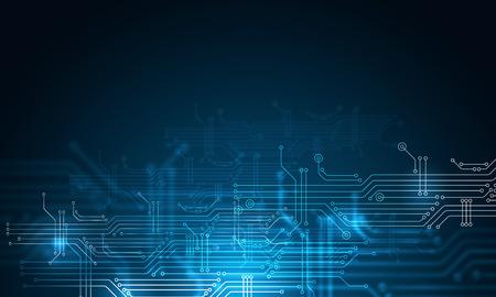 Blauer Technologiehintergrund mit Leiterplattenkonzept