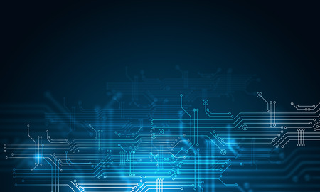 Blue technology background with circuit board concept Banque d'images