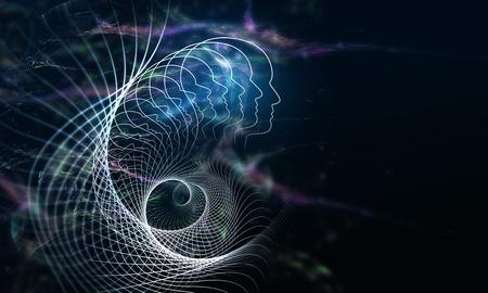 Abstract multicolored spiral fractal pattern on dark backdrop Reklamní fotografie