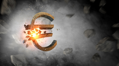 Background image with stone euro sign. Mixed media Imagens