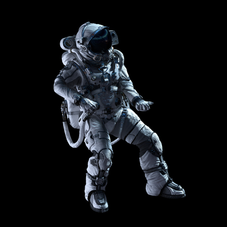 Spaceman in white suit on black background. Mixed media Archivio Fotografico