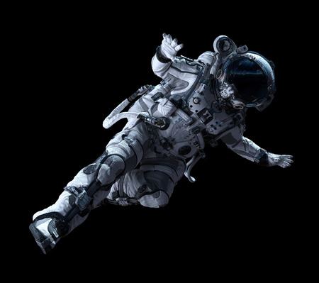 Spaceman in white suit on black background. Mixed media Stockfoto