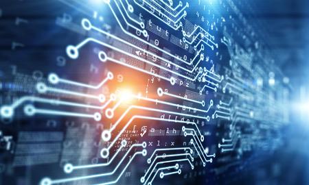 Fondo de tecnología con esquema de circuito en el telón de fondo de los medios