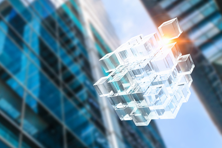 Cube figure and modern building. 3d rendering