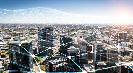 Modern city buildings and connection grid. 3d rendering