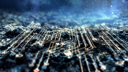 Abstract futuristic circuit board and space background Banque d'images