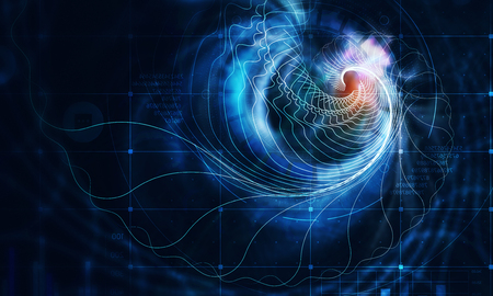 Abstract multicolored spiral fractal pattern on dark backdrop Stockfoto