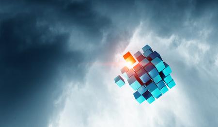High tech cube figure on gray sky background. 3d rendering Фото со стока