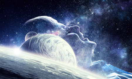 Profile of kid boy against space starry background Stock Photo
