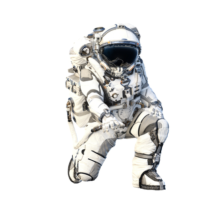 Spaceman in suit on white background. Mixed media Фото со стока