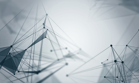 Technology abstract background with connected lines and dots. 3d rendering