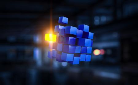 High tech cube figure in dark interior. 3d rendering Фото со стока