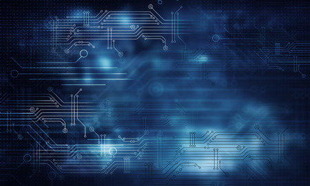 Blue technology background with circuit board concept Stock Photo
