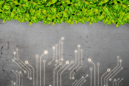Circuit board and green grass as technology concept
