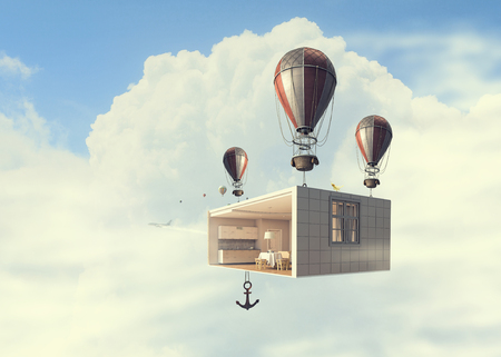 Aerostats with interior design floating in day sky. Mixed media