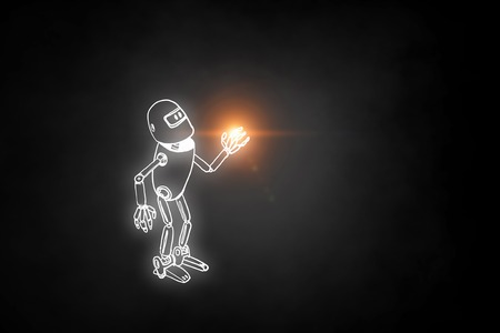 Funny childish drawn robot on dark background