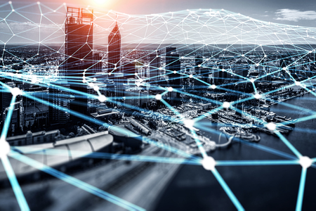 Modern city buildings and connection grid. 3d rendering Stok Fotoğraf - 103069906