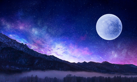 Natural background with full moon in night sky. Mixed media