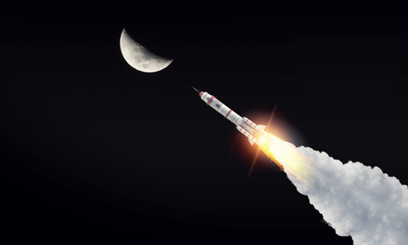 Missile fly in starry space. Mixed media Stockfoto