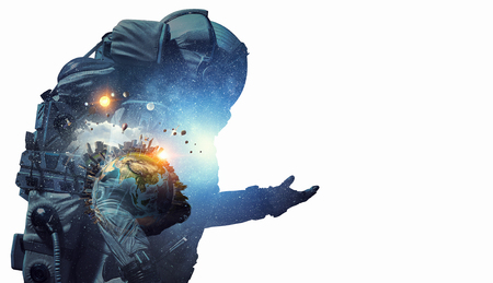Double exposure of astronaut and space on white background. Elements of this image are furnished by NASA Stock Photo