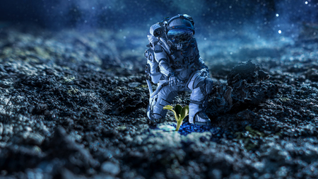 Astronaut in space suit reaching hand to touch sprout. Mixed media