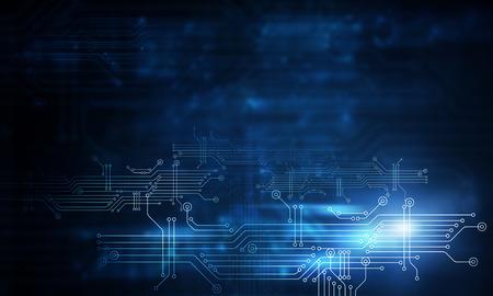 Fondo de tecnología azul con concepto de placa de circuito Foto de archivo - 103852157