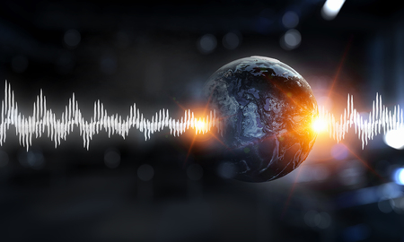 Earth planet and sound wave as concept for seismic activity. Elements of this image are furnished by NASA