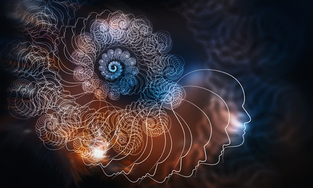 Abstract multicolored spiral fractal pattern on dark backdrop 写真素材