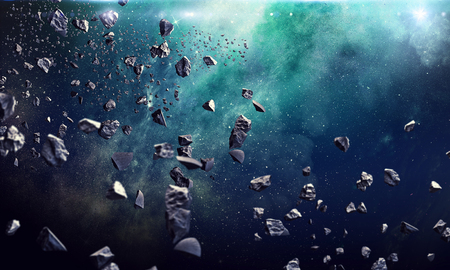 Asteroids flying in starry space. Astronomy concept Stock Photo