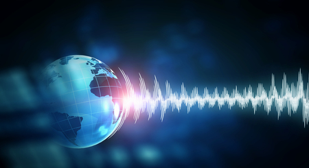 Earth planet and sound wave as concept for seismic activity