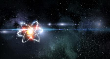 Molécula de átomo en el fondo del espacio como concepto científico. Representación 3d