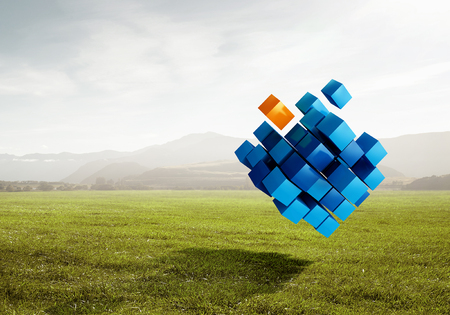High tech cube figure on natural landscape. 3d rendering Reklamní fotografie