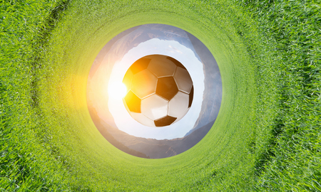 Traditional soccer ball on green grass background Stok Fotoğraf