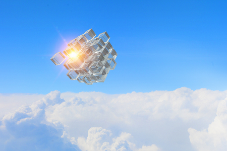 High tech cube figure on day sky background. 3d rendering Фото со стока