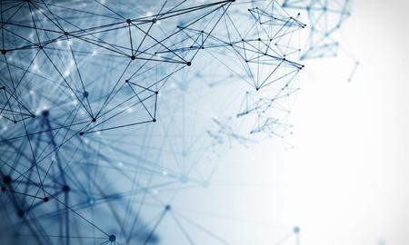 Fondo astratto di tecnologia con linee e punti collegati. Rendering 3D
