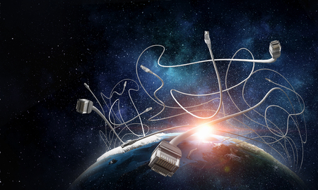 Earth planet and computer connection cord.