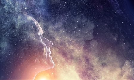 Profile of kid girl against space starry background