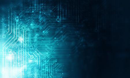 Fondo de tecnología azul con concepto de placa de circuito Foto de archivo - 104716404