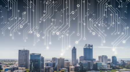 Technology image of Dubai. The concept illustration Stok Fotoğraf