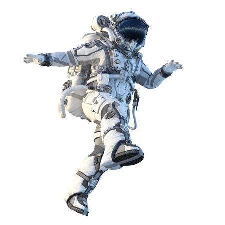Astronaute sur blanc. Technique mixte