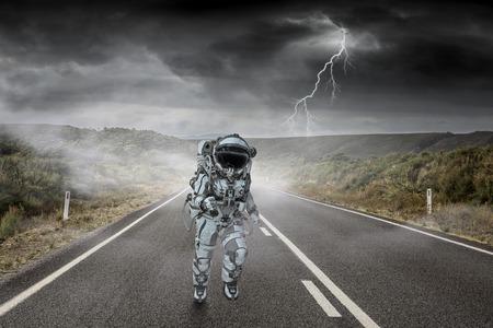 Spaceman running fast. Mixed media 版權商用圖片 - 105012234