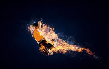 Basketball Player on Fire