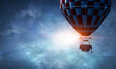 Air balloon in sky. Mixed media