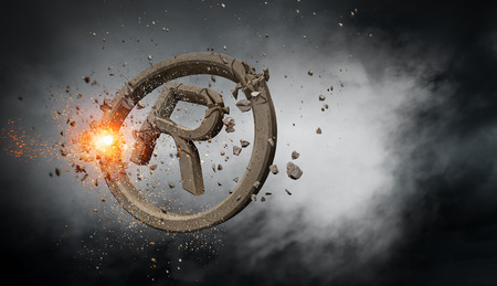 Copyrighting concrete symbol. Mixed media